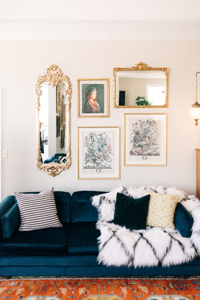 An Eclectic '70s Home Filled With Vintage Finds - Jenasie Earl | vintage velvet sofa adds an air of luxury to this eclectic home.