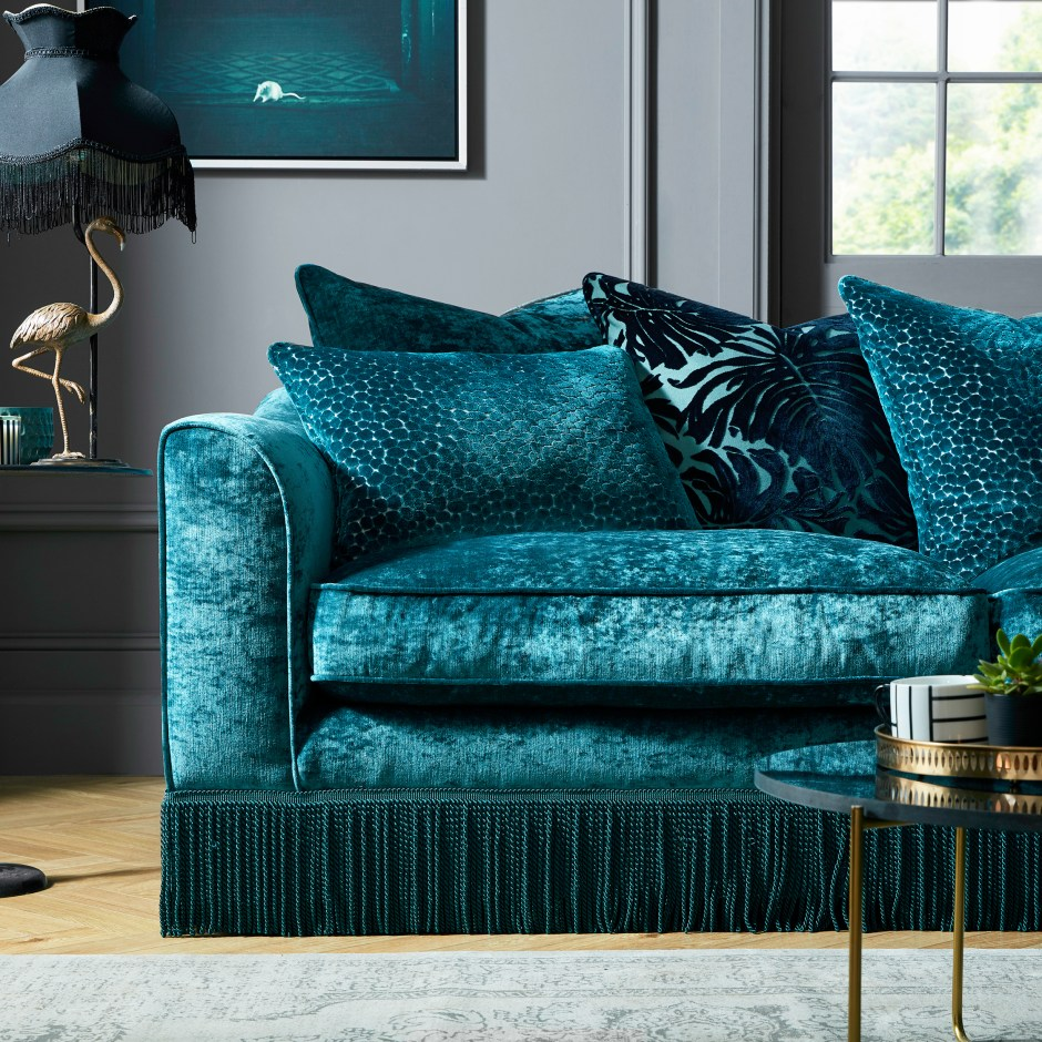 The Fringe Trend For Your Homes | Latest fringed sofa Vivienne is available in an array of colours and seating options. Available from Sofology.