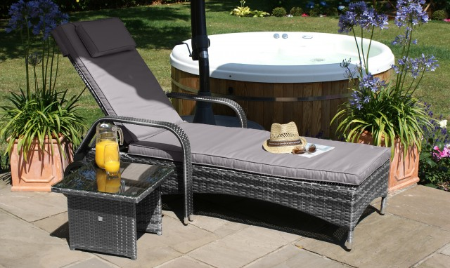 The Latest Garden Furniture From Fishpools | NASSAU - Sunbed with FREE Side Table Grey Rattan - The perfect subbed with free side table is a great investment piece for sunnier days in the garden.