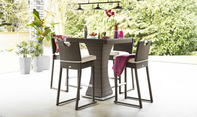 The Latest Garden Furniture From Fishpools | BARBADOS 4 Seat Square Garden Bar Set with Ice Bucket - Brown Rattan - Perfect for small gardens and patios this bar seating set is ideal for entertaining with its built in ice bucket.