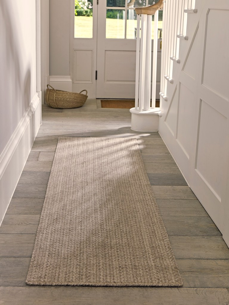 Small Hallway Makeover Plans & Top Tips To Decorate Your Own | Agna Runner - Cox and Cox Adds textural interest to a small narrow hallway with neutral decor.
