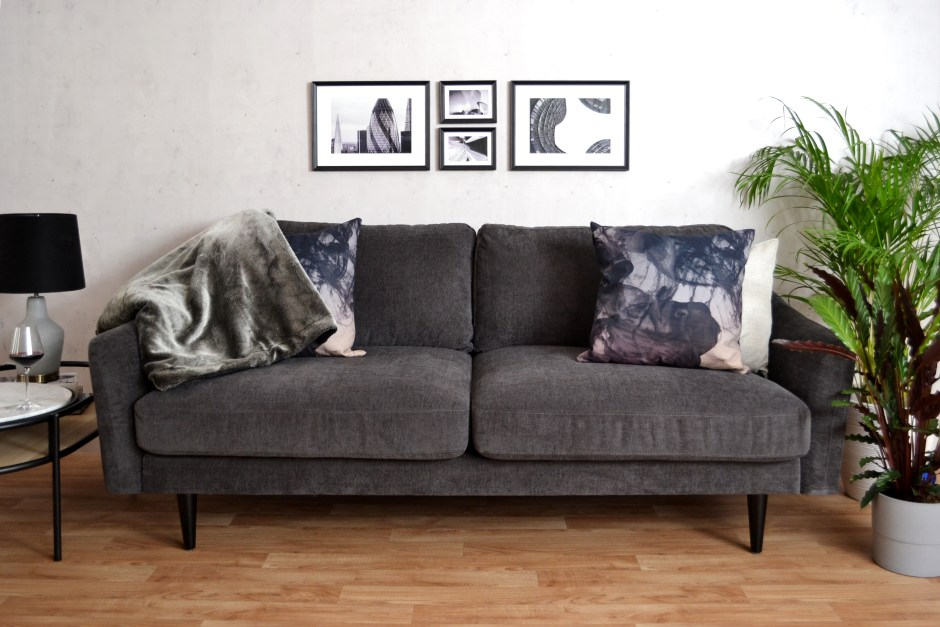 Snug Shack The UK's First Sofa In A Box | Midcentury style sofa delivered in a box within 3 days. Perfect for new home owners or renters and makes for super stylish seating to your living rooms. Available in 3 colour ways including this  dark grey easy care fabric.