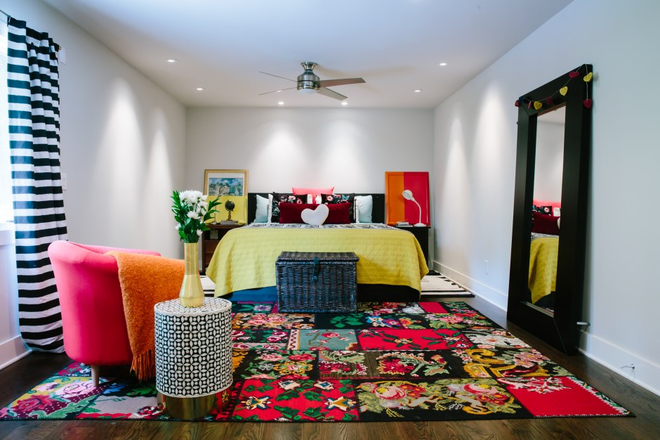 The Creative, Bold & Colourful Home of Paola Roder | master bedroom using vibrant colour and bold pattern in it's decor.