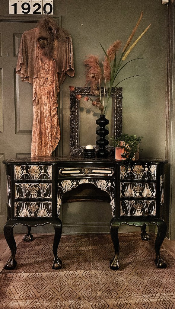 The Unique & Glamorous Maximalist Home of Sarah Parmenter Upcyclist Extraordinaire | One off dressing table upcycled using Anna Hayman's Pearl wallpaper. Adding a wonderful 1920's vibe.