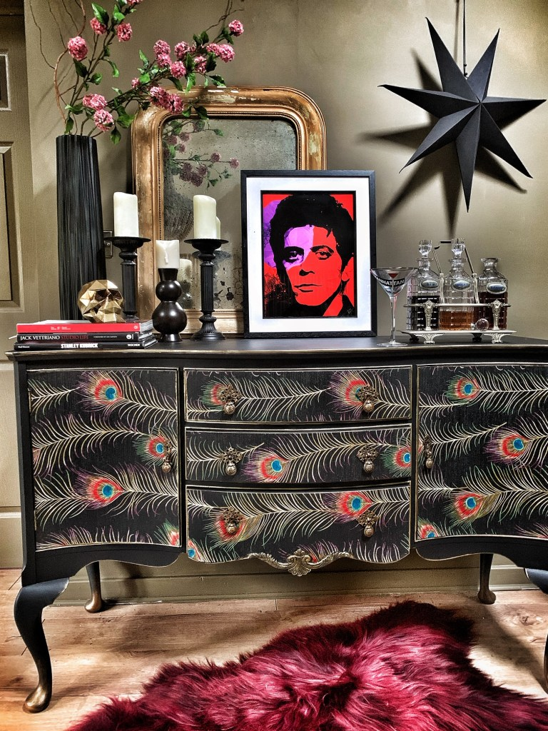 The Unique & Glamorous Maximalist Home of Sarah Parmenter Upcyclist Extraordinaire​ | upcycled furniture using peacock print from Sanderson and soft black paint from Frenchic paint