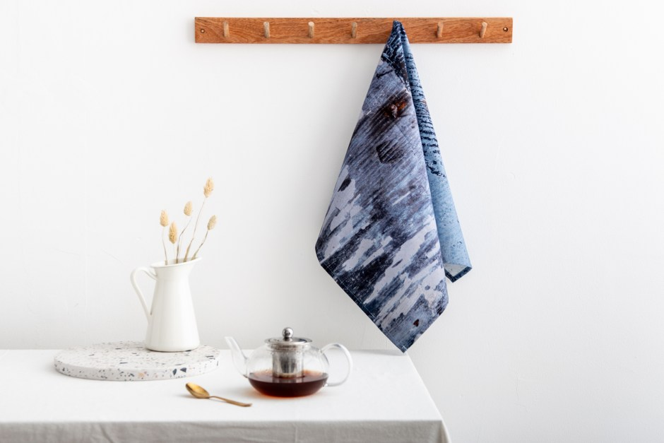 Ruth Holly designs home accessories such as these t-towels which encompass earthy tones, patterns and organic markings from nature itself.