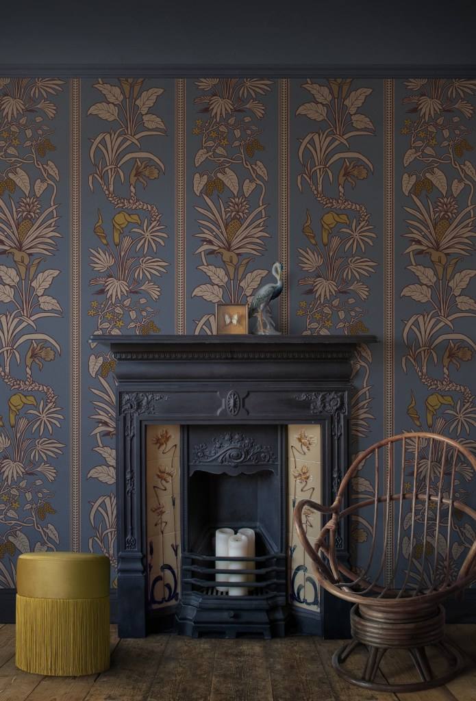 Divine Savages & Natural History Museum collaboration - Botanize Heritage wallpaper botanical design inspired by the Hintze Hall panels of the museum