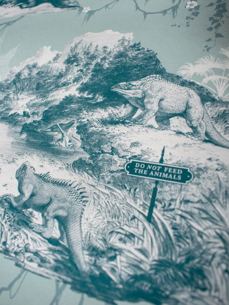Divine Savages & Natural History Museum collaboration wallpaper - Extinctopia dinosaur wallpaper inspired by Crystal Palace Park
