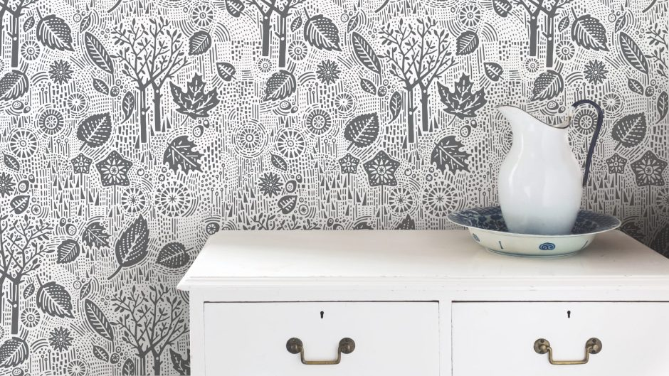 'Autumn', Falling Leaves Wallpaper in Charcoal - Bold & Noble