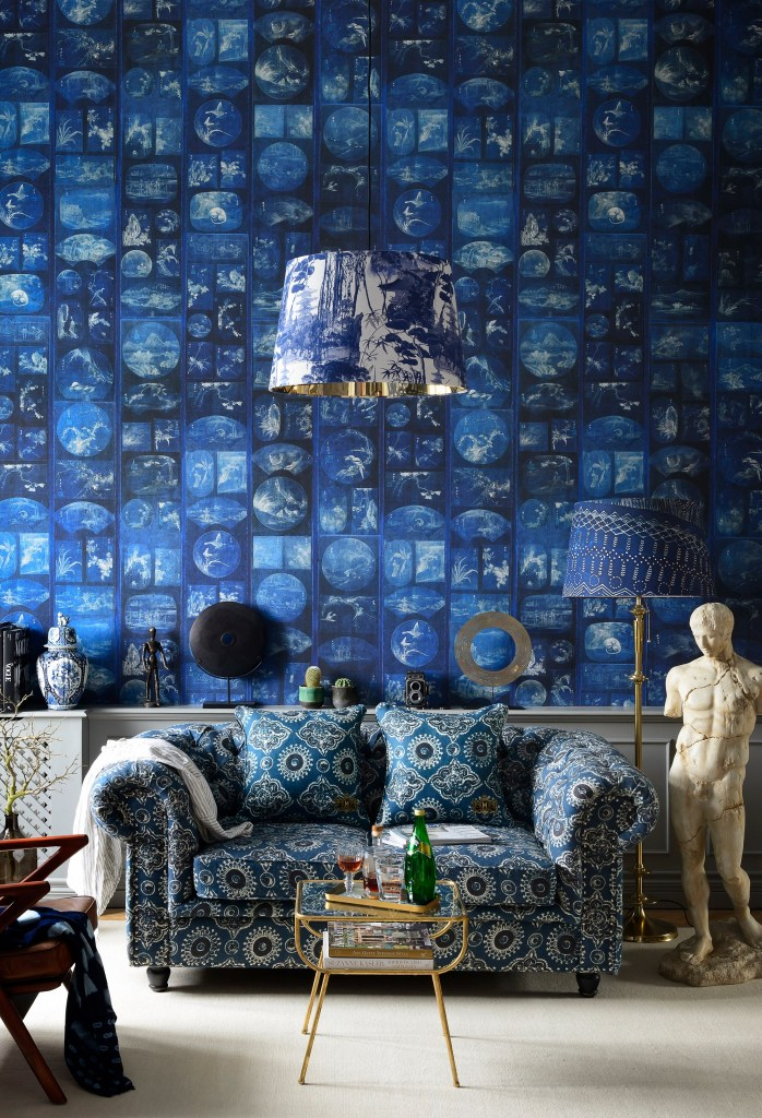 How To Use Classic Blue - Pantone's Colour Of The Year 2020 | Aizome collage wallpaper by Mind The Gap