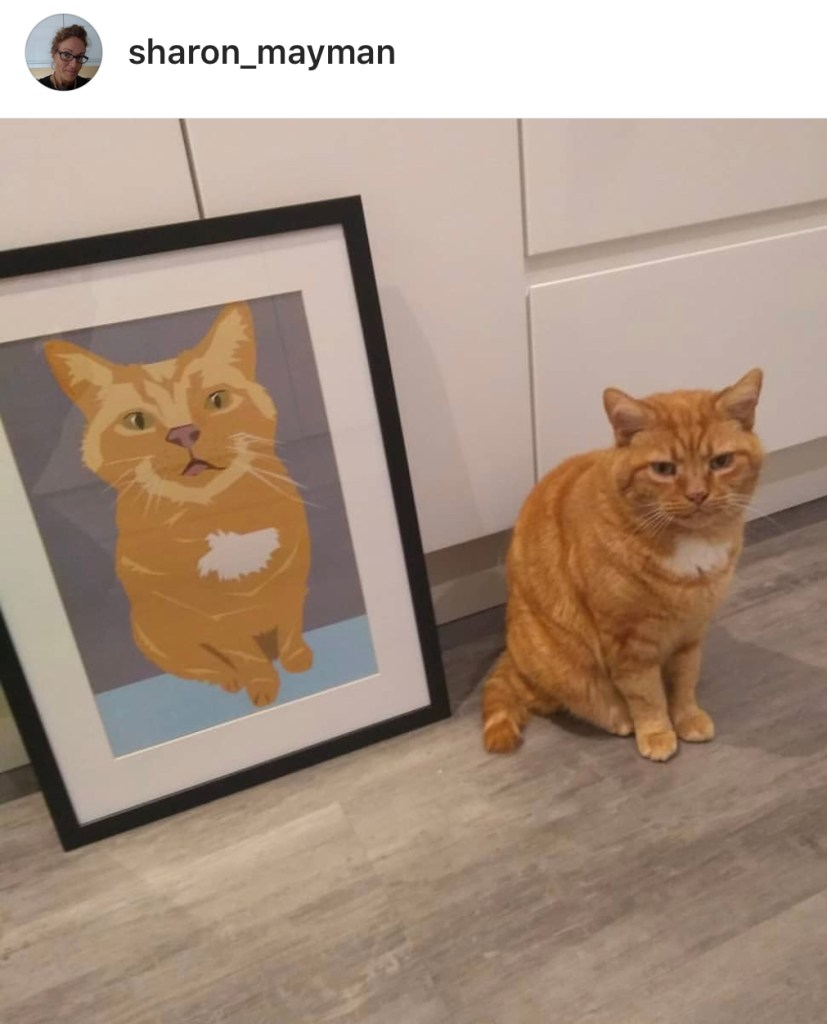 Karina Mansfield - Minimalist Pop Art For Your Homes   Cat Pet portrait by Karina Mansfield