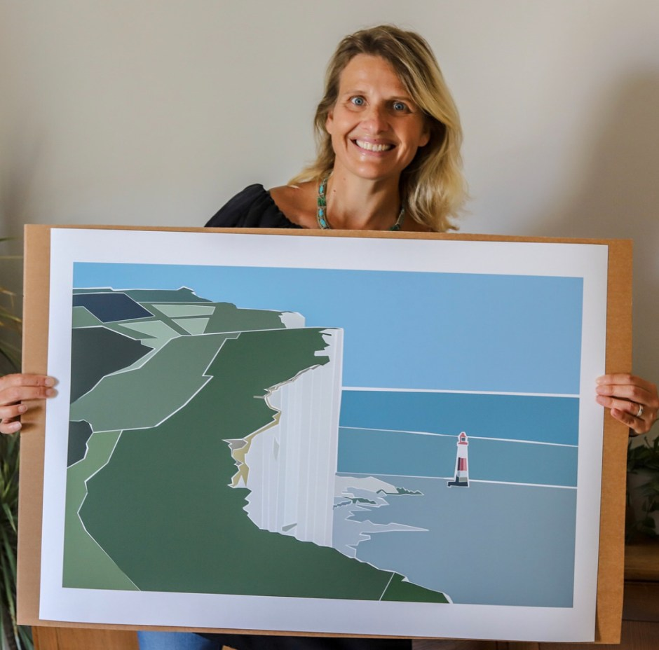 Karina Mansfield - Minimalist Pop Art For Your Homes | Karina Mansfield with one of her landscape art piece