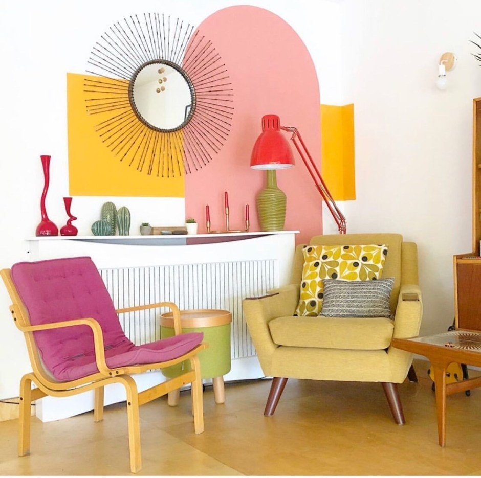 How To Use Paint Creatively In Your Home |simple asymmetrical colour blocking with paint to create a feature seating area