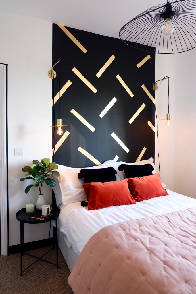 How To Use Paint Creatively In Your Home | Hand painted and gold leaf head board too create a feature wall to a bedroom space