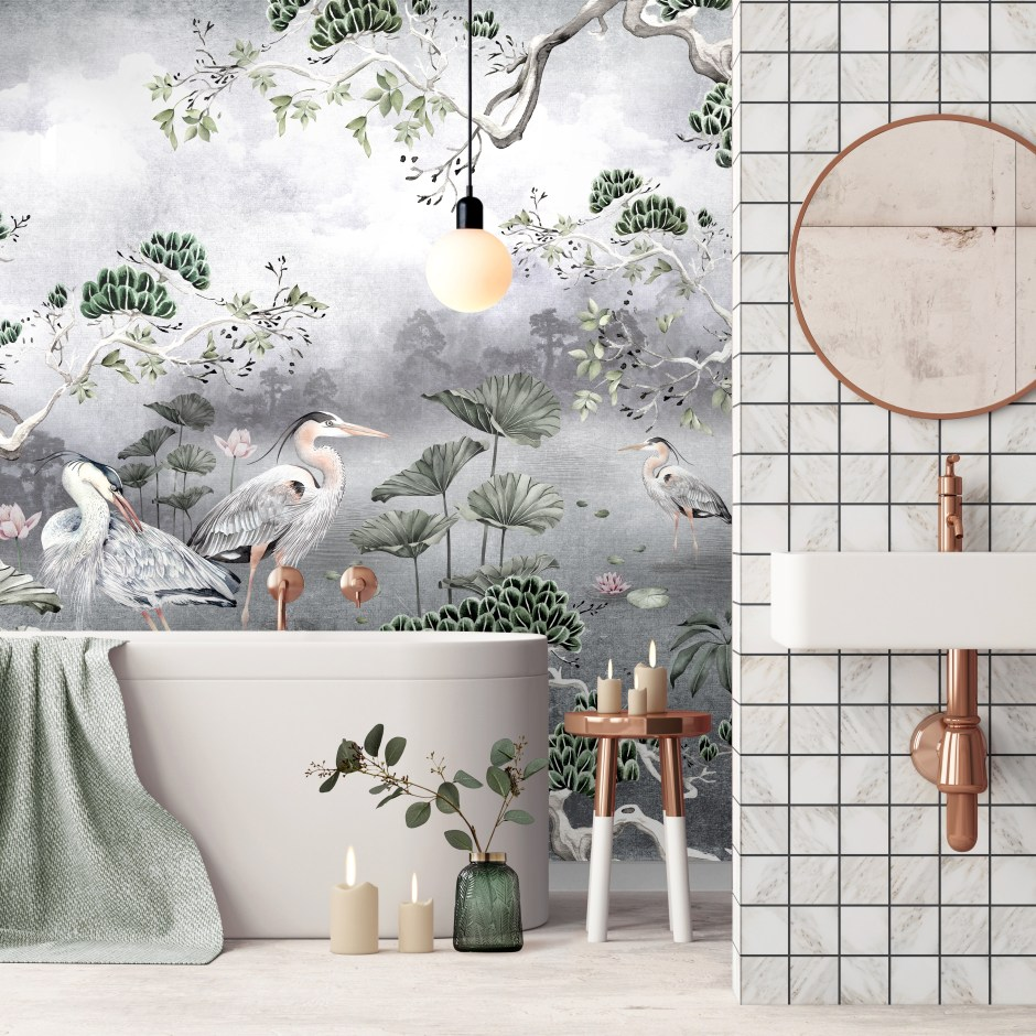 Avalana Design - Nature-Inspired Luxury Home Decor | Silver Orient Wall Mural