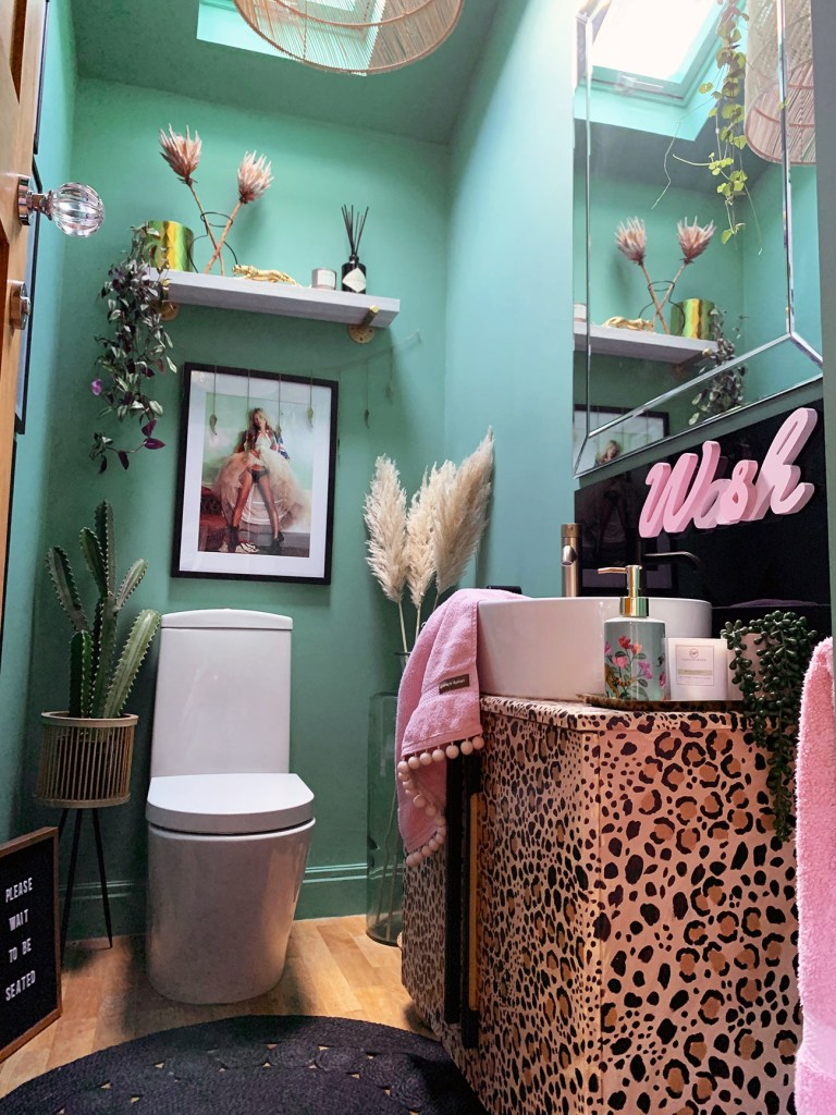 The Glamorous Colourful & Pattern Filled Home of Cara Baker | cloakroom downstairs toilet that uses fun colour, pattern and accessories to make an impact