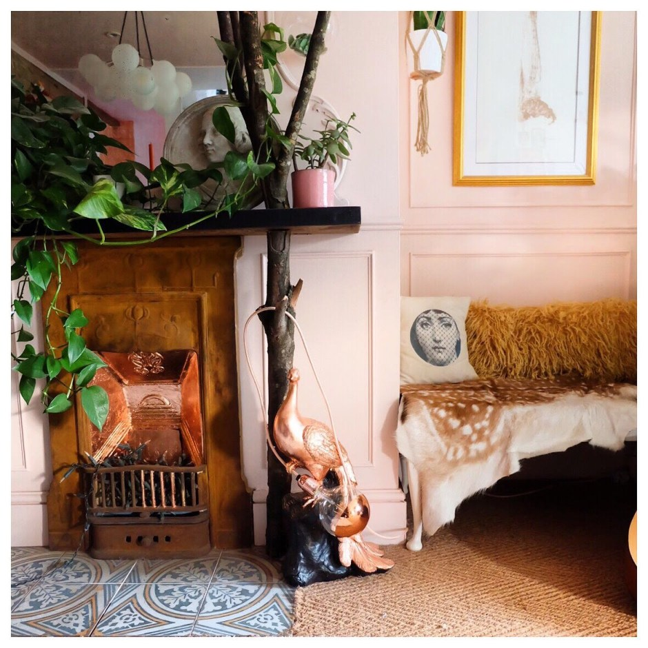 The Creative Eclectic Home of Gold Leaf Queen - Lara Bezzina - gold leaf fireplace area