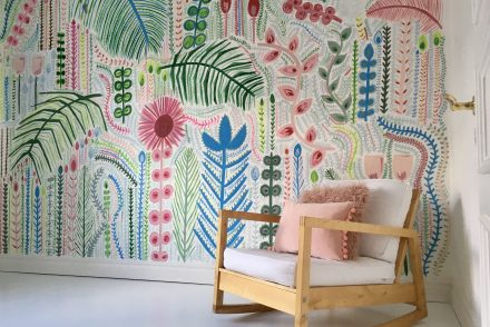 Hand painted mural Lucy Tifney style The Creative Eclectic Family Home of Aisling Kelly
