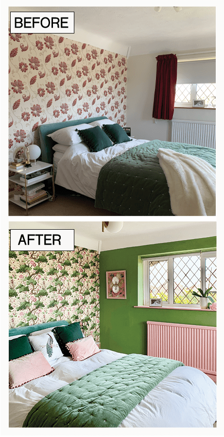 Romantic Whimsical Nature Inspired Bedroom Makeover - Part 2 The Reveal Before & after