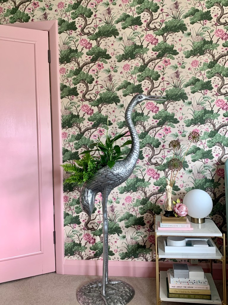 Crane Bird in Rose Pink and Cream Wallpaper - Woodchip & Magnolia and Standing Crane planter