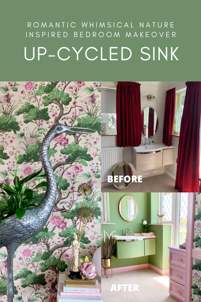 Romantic Whimsical Nature Inspired Bedroom Makeover - Part 2 The Reveal - Upcycled sink