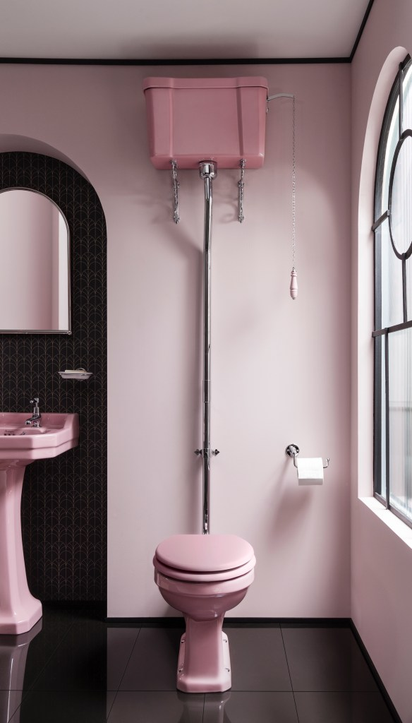 Unique Bespoke Traditional Bathroom Sanitary Ware by Burlington - High level wc confettiii pink seat and flush cistern