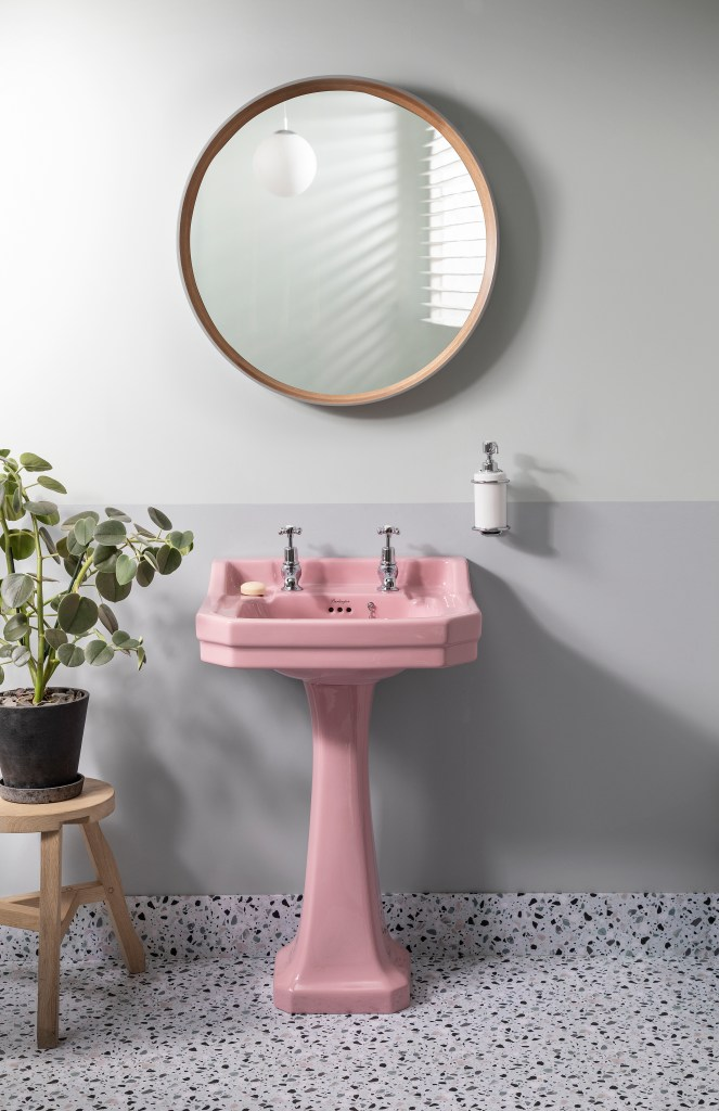 Unique Bespoke Traditional Bathroom Sanitary Ware by Burlington Edwardian Basin with Standard Pedestal in Confetti Pink