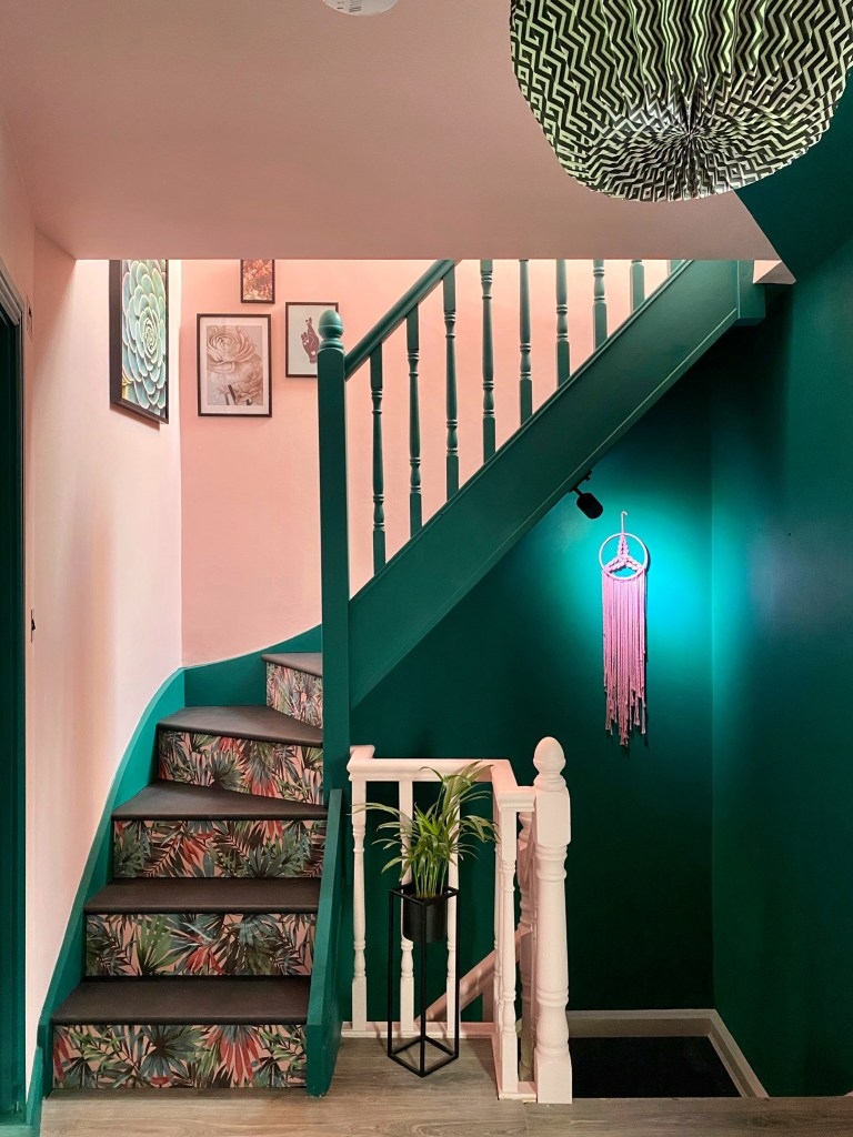 Colour & Pattern Filled Eclectic Home - Saara McLoughlin | Colour blocking has been used to create interest together with wallpaper on stairs and landings