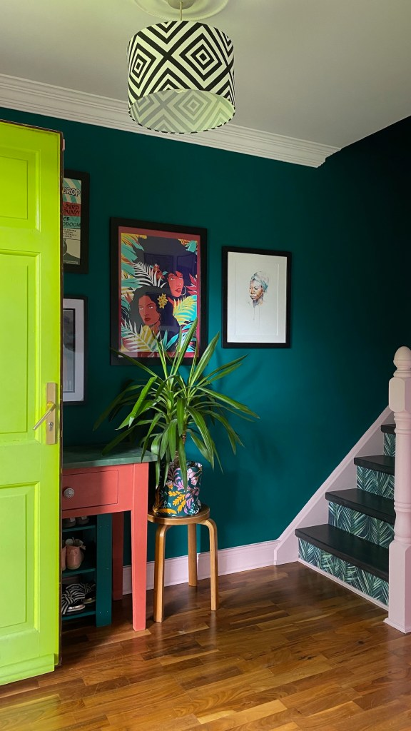Colour & Pattern Filled Eclectic Home - Saara McLoughlin Bold entrance hall with fun artwork, up-cycled colourful furniture and statement stairs