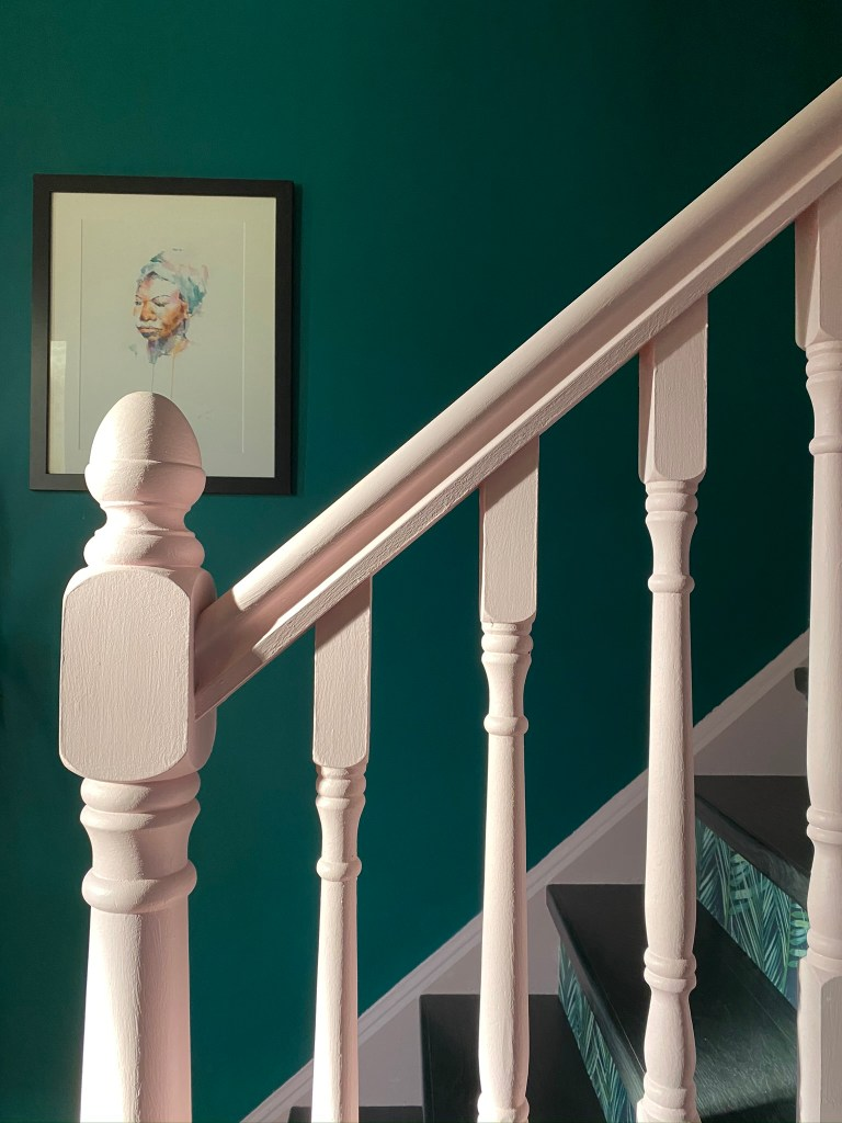 Colour & Pattern Filled Eclectic Home - Saara McLoughlin | Statement stairs using botanical wallpaper and bold paintwork