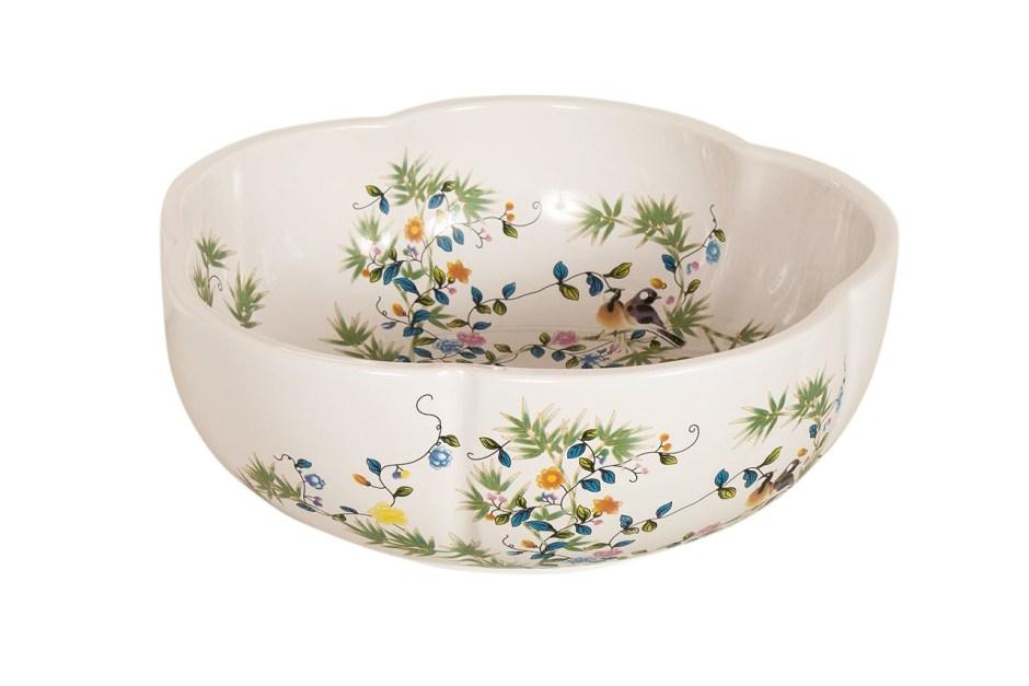 SIENNA Pretty White Botanical Floral Handmade Wash Basin Sink - The Way We Live London