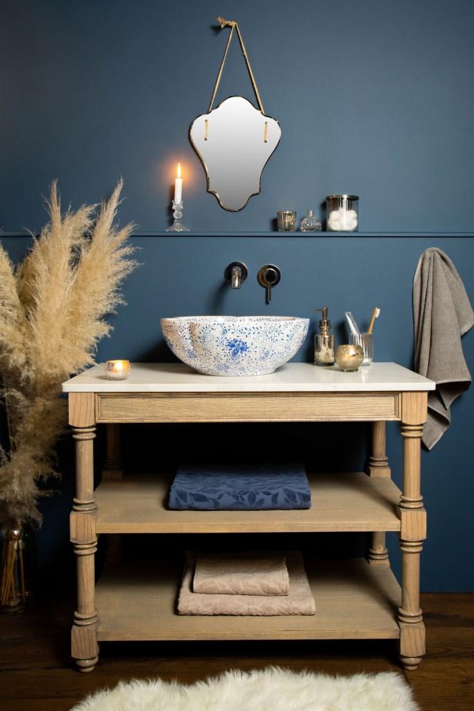 DELILAH BASIN Beautiful Blue & White Petal Shaped Countertop Wash Basin Sink - The Way We Live London