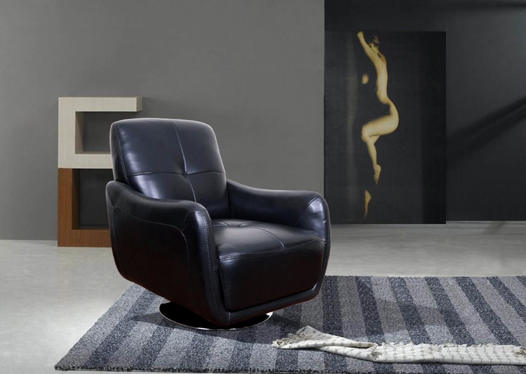 Full Leather Chair  Modern Living Room Swivel Chair