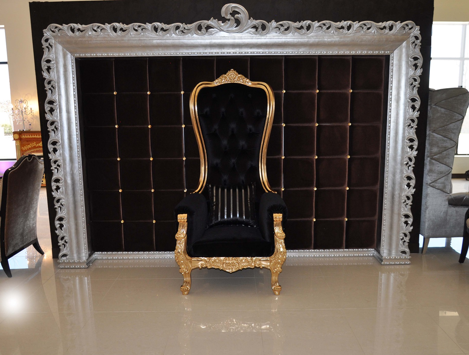 how to make a queen throne chair posture definition baroque in black velvet and gold
