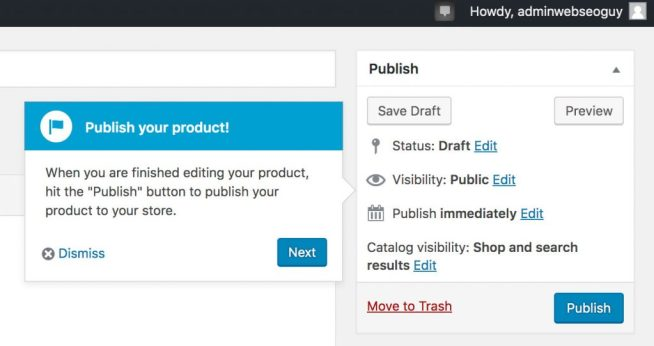 Publish WooCommerce Product