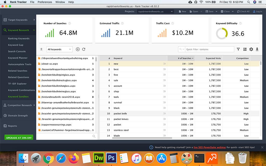 Screenshot of SEO Powersuite Keyword Sandbox