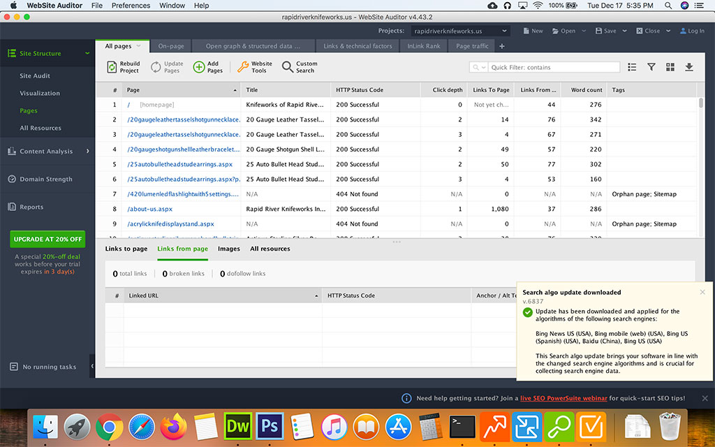 Screenshot of Seo Powersuite SEO Spyglass Website Auditor