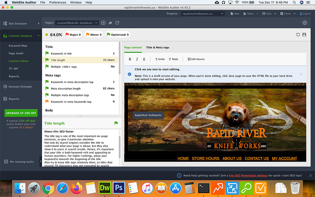 Screenshot of the Seo Powersuite Website Auditor Content Editor