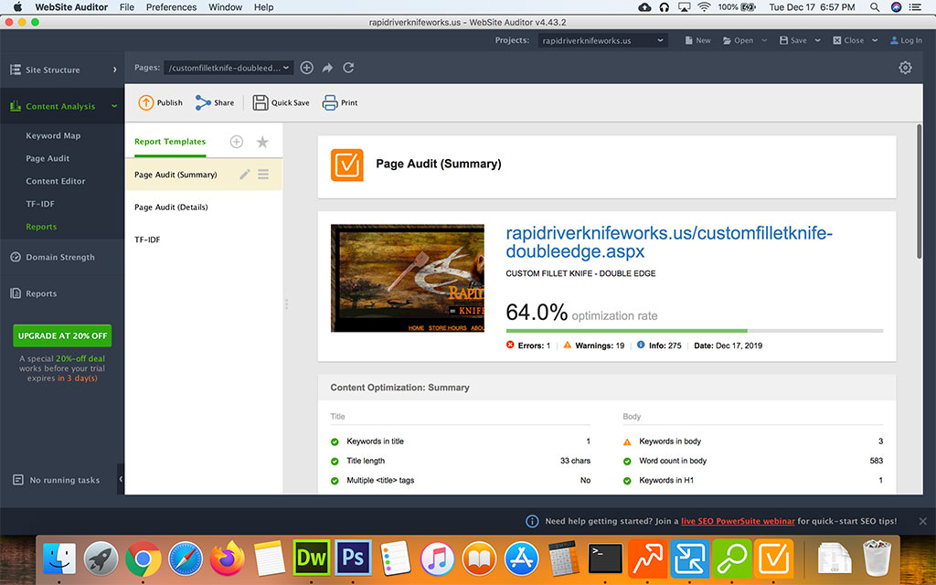 Screenshot of the Seo Powersuite Website Auditor Reports