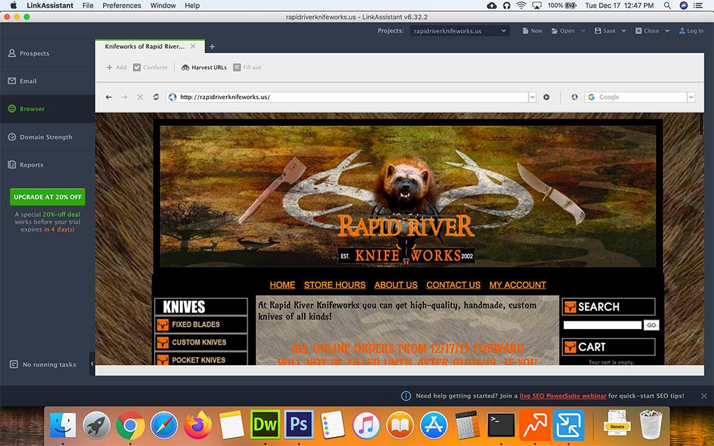 Screenshot of SEO Powersuite Link Assistant Browser