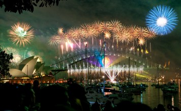 The world famous NYE celebrations in Sydney Harbour