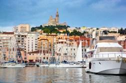 Marseille, harbour view on the Notre Dame de la Garde
