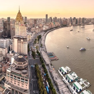 Sunset of The Bund in Shanghai