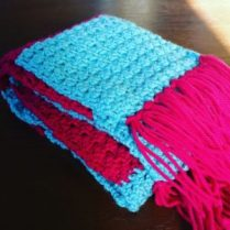 crocheted scarf with tassles trying not to fail