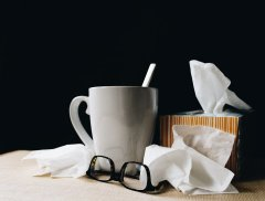 cup and glasses and tissues