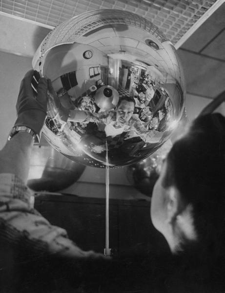 Scientist Alexander Simkovich working on a US artificial satellite - April 1957