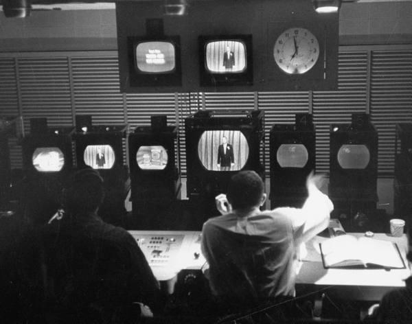 Men working in the control room of CBS TV City - 1956
