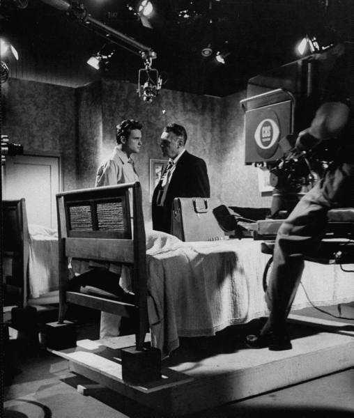 "Actors John Ericson (L) and Ralph Bellamy (R) rehearsing scene for Playhouse 90 ""Heritage of Anger"" at CBS TV City - 1956"