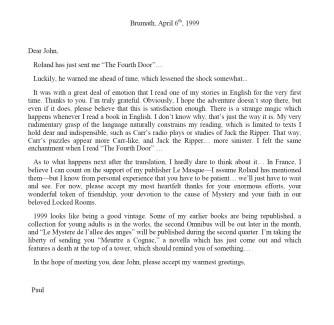 Paul Halter to John Pugmire translated