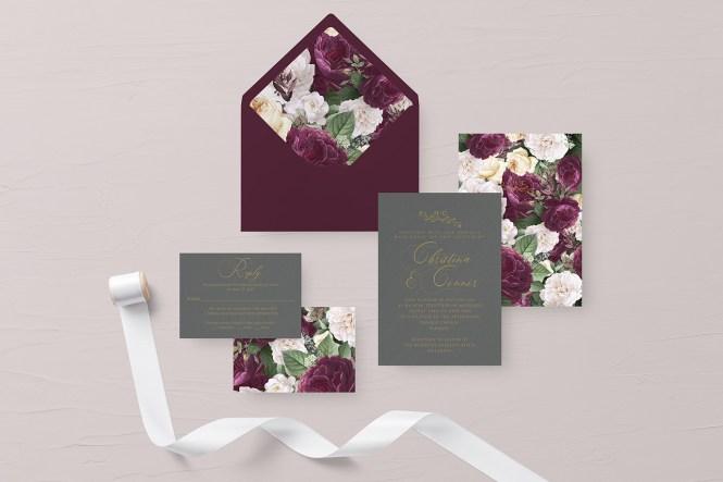 New In Autumn Fl Wedding Invitation Design The